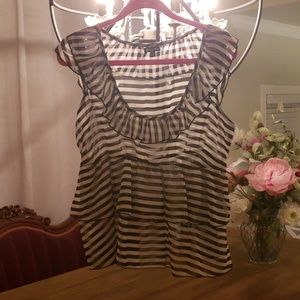 Black & White Stripe Sheer Blouse